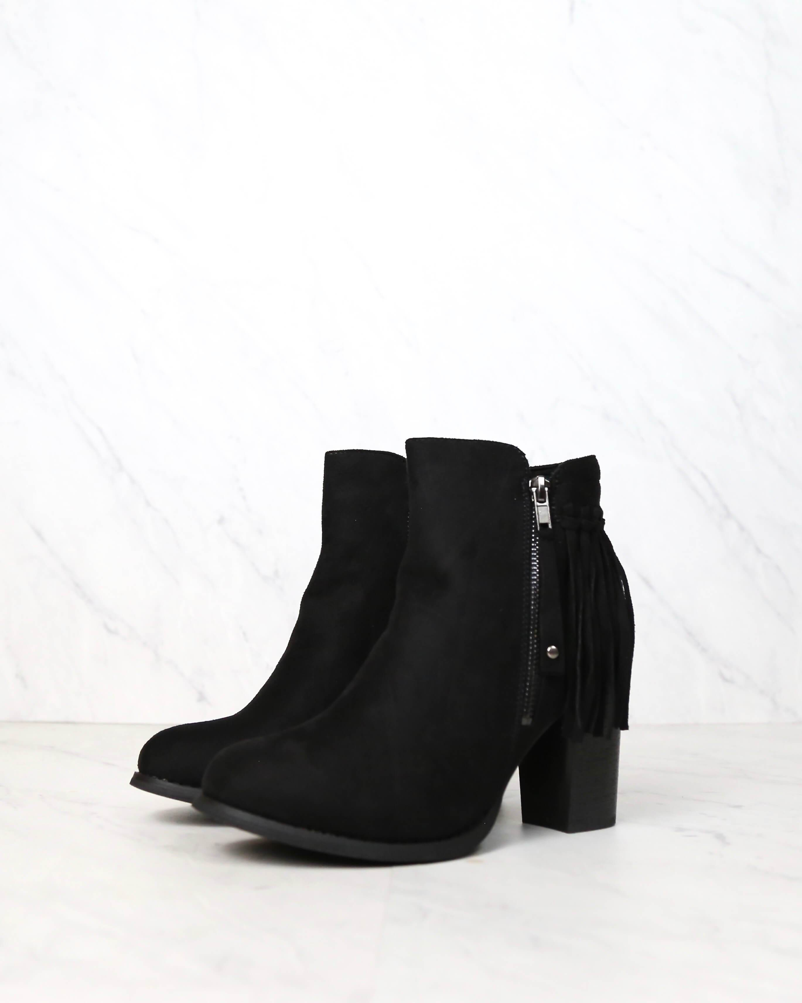 Image of City Chic Fringe Vegan Suede Ankle Boots in Black
