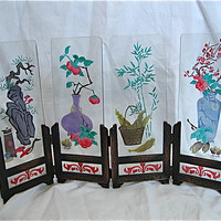 Vintage Miniature Etched Glass Screen