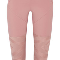 Adidas by Stella McCartney - Cropped paneled stretch-jersey and mesh leggings