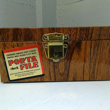 Vintage, Porta File Check Box, Metal, Faux Wood Grain Finish, Ballonoff, Home Office, File Box, Records File, Photo Prop, RhymeswithDaughter