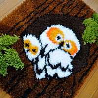 Northwest Forest Owls Vintage 1970s Hand Hooked Yarn Wall Hanging