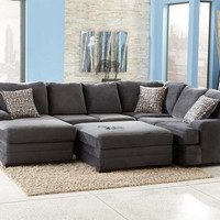 Dylan Charcoal 3 Pc. Sectional (Reverse) - Sectionals - Living Room - mobile