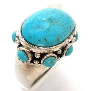 Turquoise Ring in Sterling Silver Size 8