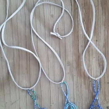 Blue 3 Bundle Pack, Treble Clef Necklaces, Treble clef jewelry, Music jewelry, beaded jewelry, suede lace necklace, Christmas Gift Ideas