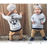 2pcs Newborn Toddler Kids Baby Boys Clothes Set Tops Hoodie Warm + Long Pants Casual Hoodies Baby Outfits Set Autumn Winter