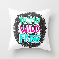 Young Wild Free Throw Pillow by M Studio