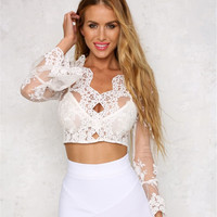 2017 Summer Women Lace Long Sleeve Crop Top Bralette Tops Blouse [10454760015]
