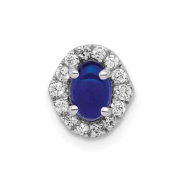 14k White Gold Real Diamond and Cabochon Sapphire Halo Chain Slide