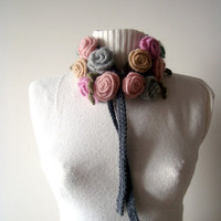 SALE---Stunning Wool Neck Warmer with Roses