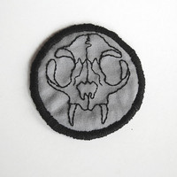 Felis Domesticus  Hand Embroidered 3 Cat Skull by SomeRabbits