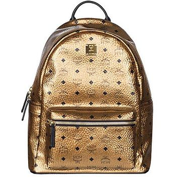 MCM Unisex Gold Weekender Visetos Backpack Bag