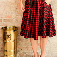 Samantha Plaid Midi Skirt