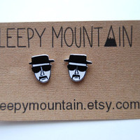 Breaking Bad Heisenberg Post Earrings by SleepyMountain on Etsy
