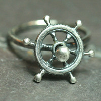 Ship Wheel Ring Silver Spinning Fidget Ring US Size 7 Find Your Own Destiny Maggie McMane Designs