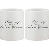 My Valentine Calligraphy Style Couple Coffee Mugs