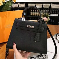 Hermes High Quality Fashionable Women Shopping Bag Leather Handbag Tote Shoulder Bag Satchel Black