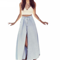 Long Skirt Summer Women Saia Middle Waist Slit Skirts Straight Casual Denim Saias Plus Size Petticoat With Button