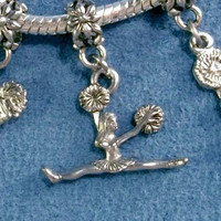 Cheerleaders Charm Set Euro Chamilia Style Slide On OR Clip On charms FREE US Shipping