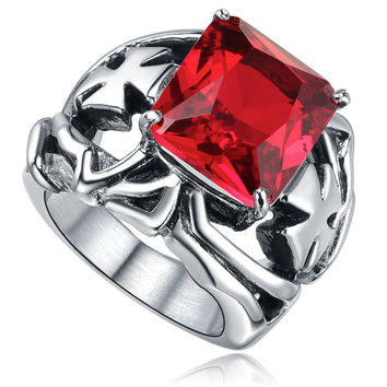 Stainless Steel Red Cubic Zirconia and Cross Ring