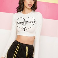 Graphic Print Crop Fitted Top