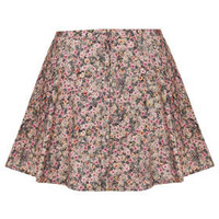 Ditsy Floral Button Through Mini Skirt - Skirts  - Clothing