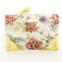 GRACE / Tapestry & Leather clutch - Ready to Ship