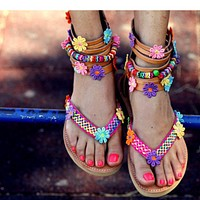 New hand-made flower clip-toe back zipper sandals shoes