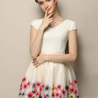 Apricot Flower Embroidered V-neck Short Sleeve Chiffon Pleated A-Line Mini Dress