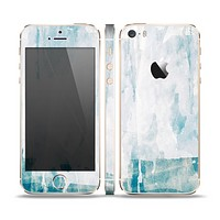 The Teal and White WaterColor Panel Skin Set for the Apple iPhone 5s