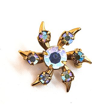 Starburst Aurora borealis gold toned scatter brooch mid century 1950's pin up