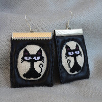 Earrings cat fabric Handmade earrings Leatherette earrings Black earrings Cat jewelry Gift for her Black jewelry Fabric jewelry