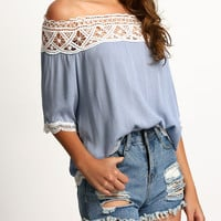 Off Shoulder Lace Patchwork Half Sleeve Shirt
