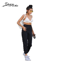 Black High Waist Pants Women Sexy Side Lace Up Hollow Out Hip Hop Pants Ladies Casual Trousers