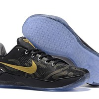 hcxx N269 Nike Zoom Kobe 12 A.D EP Flyknit Actual Combat Basketball Shoes Black Gold