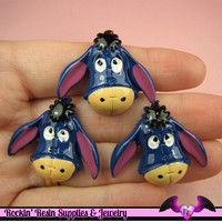 4 pc Cartoon Donkey Resin Flatback Decoden Kawaii Cabochons 27x32mm