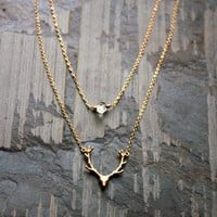 Gold Antler Deer Head Gold Filled Chain Necklace, Herkimer Diamond Necklace, Animal Jewelry