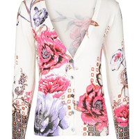 MapleClan Women's Printed Knit V Neck Button-Front Cardigan - 7003
