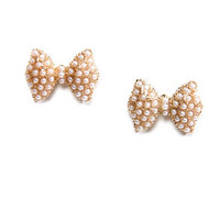 Bow-zone Layer Pearl Earrings