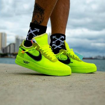Nike Air Force 1 AF1 x Off-white low-top breathable comfortable casual cushioning sneakers shoes