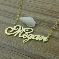 Name necklace - Gold nameplate necklace English111 style, Personalized gifts