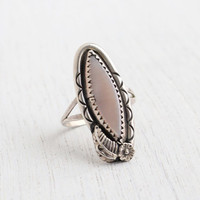 Vintage Sterling Silver Pink Mother of Pearl Ring - Size 7 Floral and Leaf Native American Boho Jewelry / Tribal Marquise