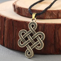 CHENGXUN Irish Vintage Necklace Celtic Eternity Knot Pendant Infinity Jewelry in Rune Pagan Norse Viking Slavic Amulet