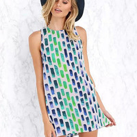 Geometric Print Sleeveless A-Line Mini Dress