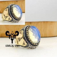 Moonstone gemstone with galata tower sterling silver mens ring