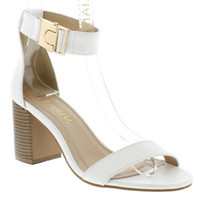 """Gilberta"" Ankle and Toe Strap Low Chunky Heel Sandals - White"