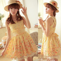 Summer Knotbow Lace Floral Chiffon Strap Dress SP140489