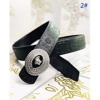Versace Fashion New Human Head Buckle Human Head Leather Women Men Leisure Belt 2#