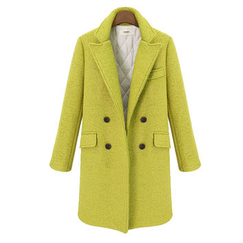 Plain Long-Sleeve Notched Trench Coat