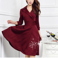 Women Sexy Long Sleeve Bodycon Coat Skirt Wine Red Fashional Autumn Winter Formal Classic Office Wear Working Outfits Dress 4XL J1008