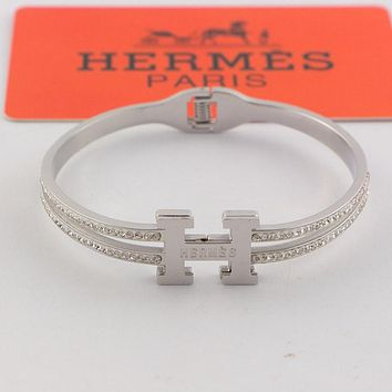 Hermes 2019 early spring new trend high-end full diamond women's bracelet Silver